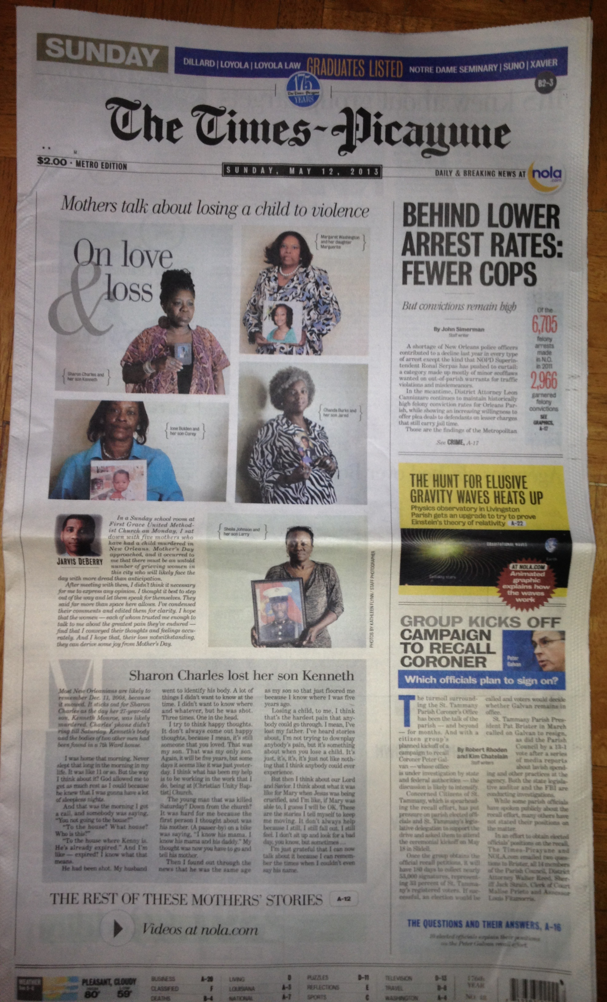 Front page of the new orleans times picayune mother s day 2013